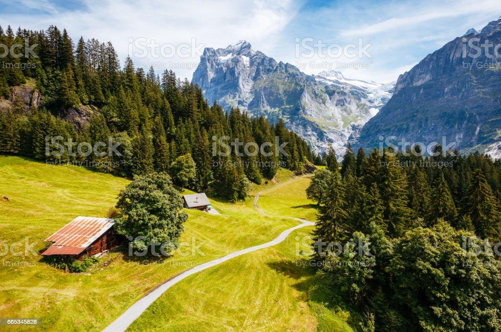 Impressive view of alpine Eiger village. stock photo