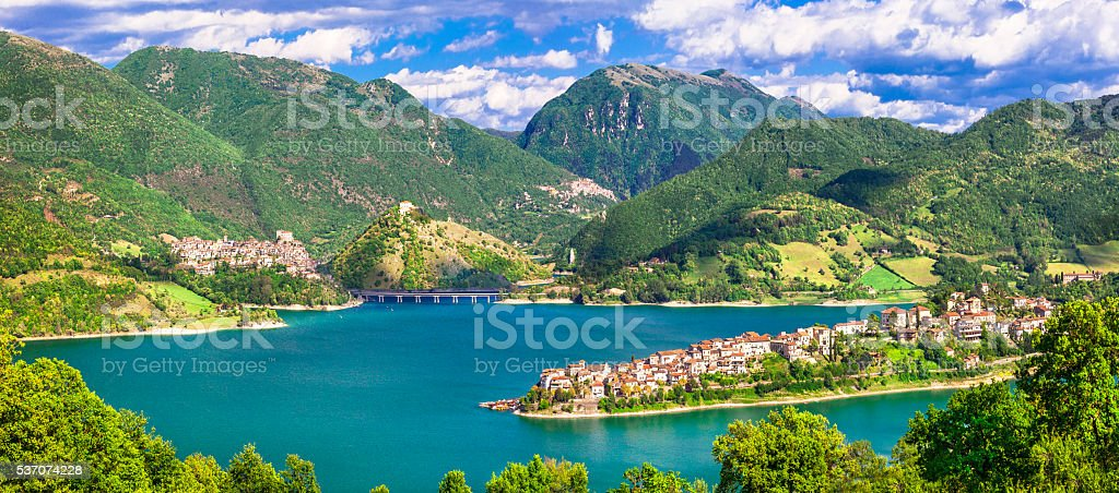 Impressive Views Of Turano Lake,Lazio,Italy. stock photo