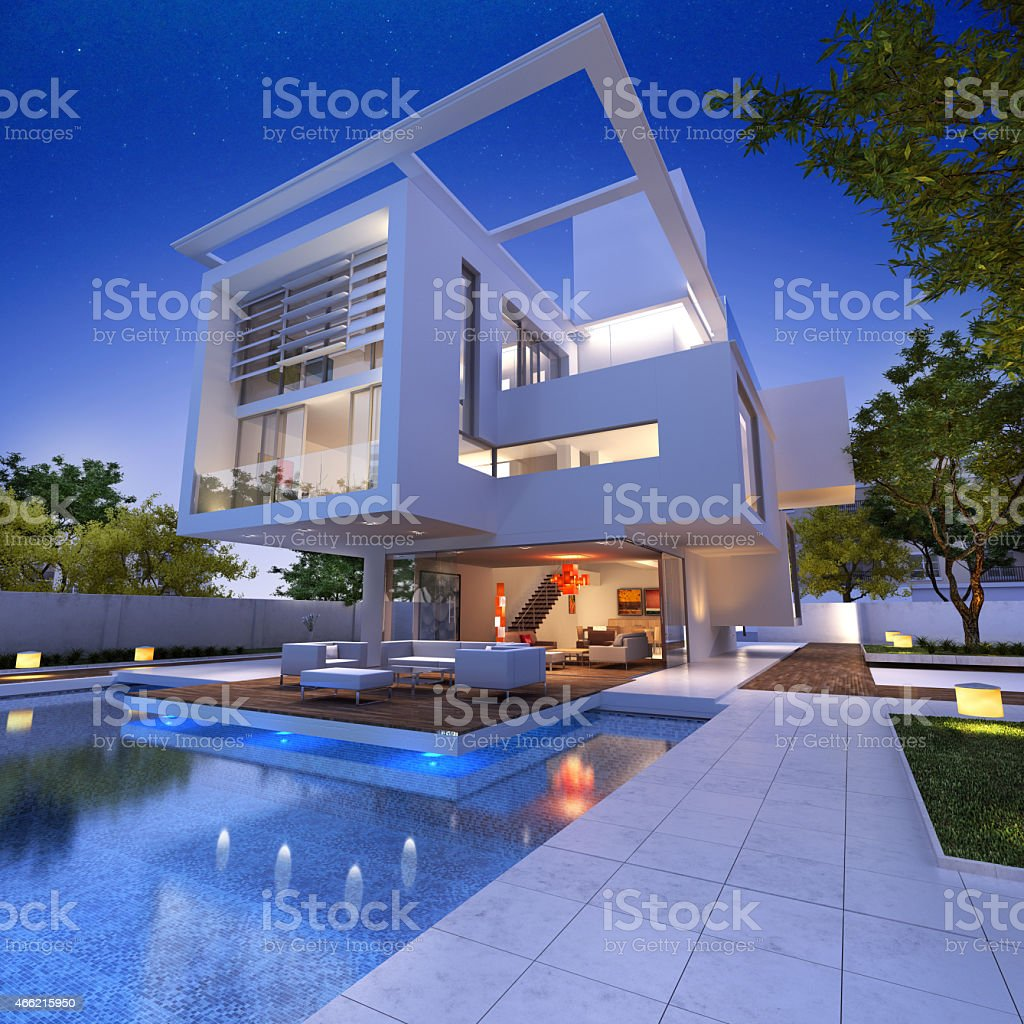 Impressive villa b stock photo