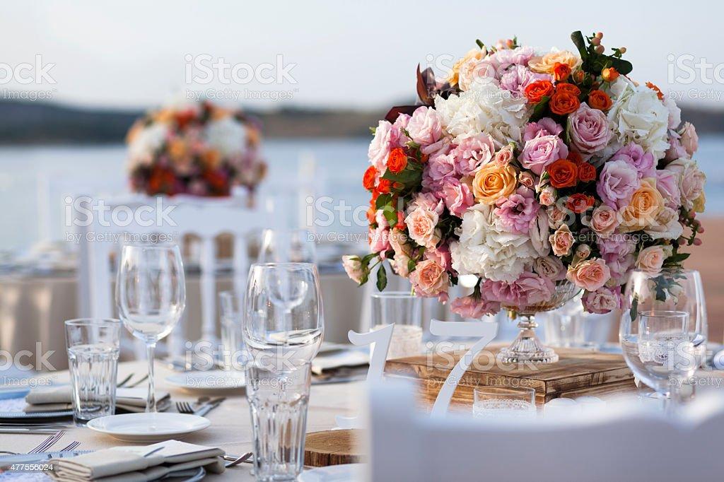 impressive wedding set up stock photo