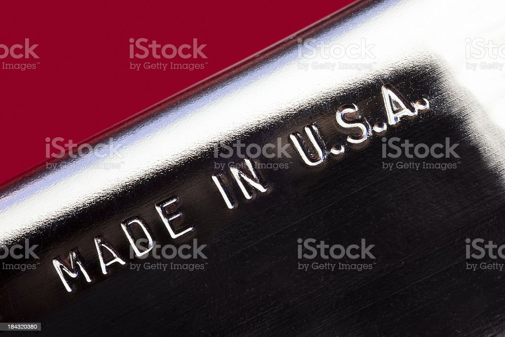 MADE IN USA Imprint on Stainless Steel Product royalty-free stock photo