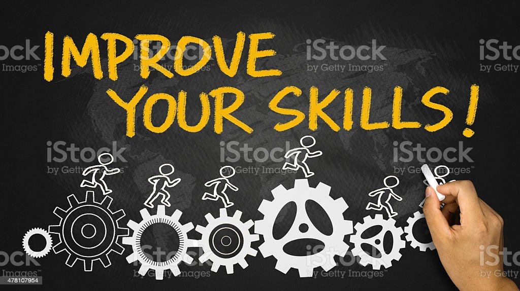 improve your skills hand drawing on blackboard stock photo