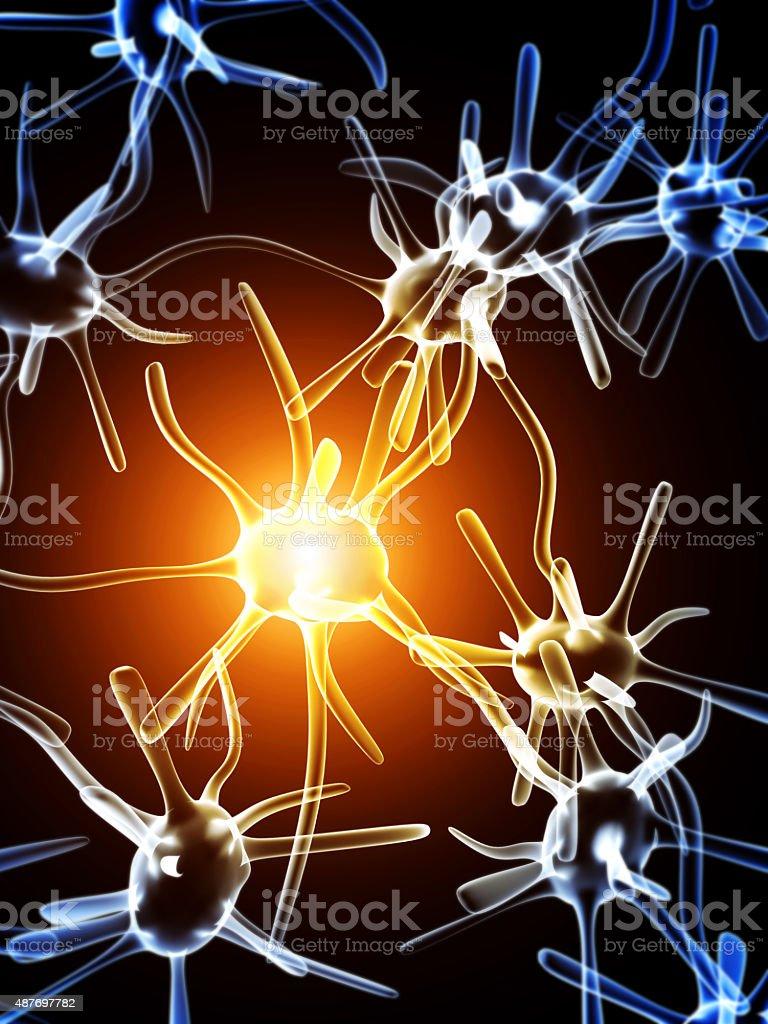 Impulses of neurons stock photo