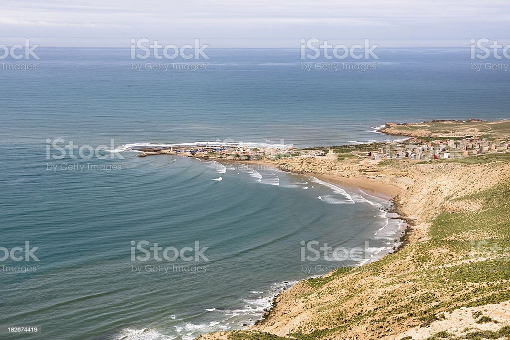 Imsouane town and headland on the west coast of Morocco stock photo