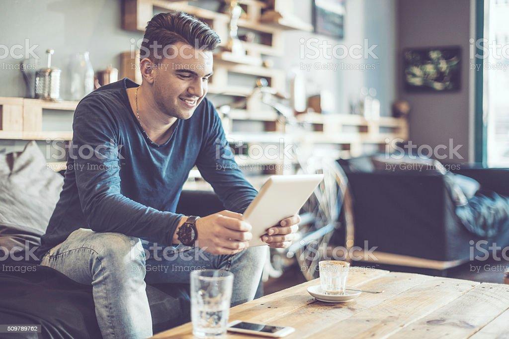 In a café stock photo