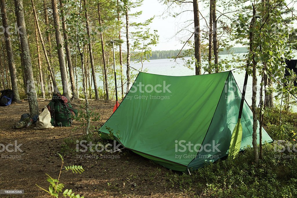 In a camping. stock photo