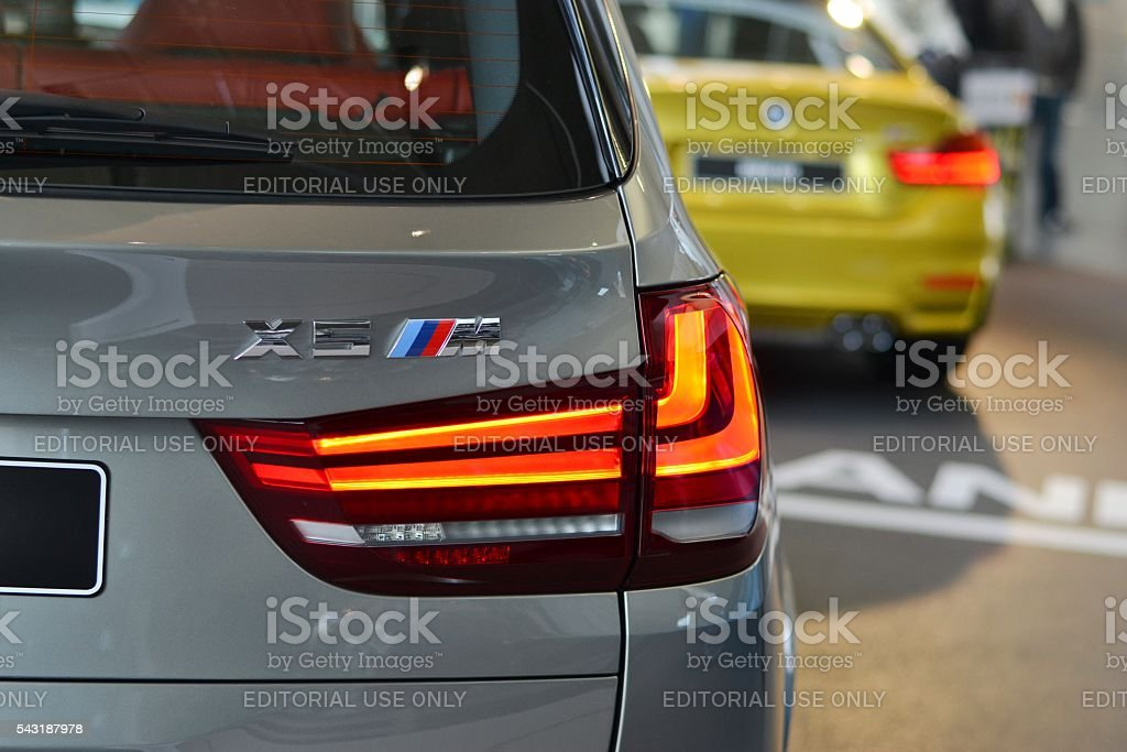BMW X5 M in a car showroom stock photo