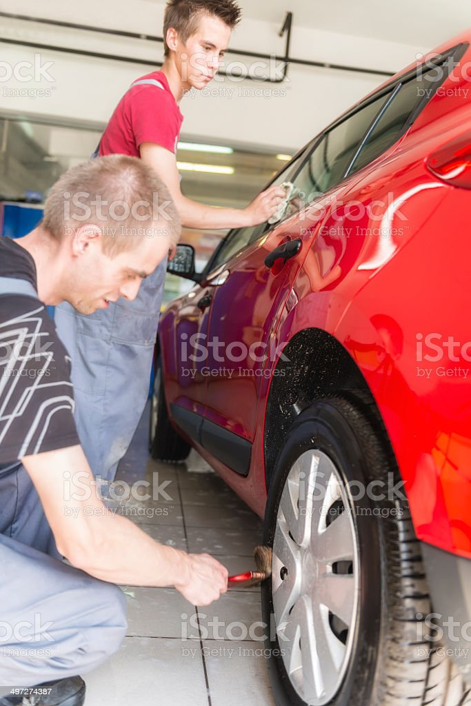 In a car wash royalty-free stock photo