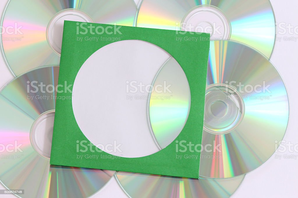 CD in a storage pouch stock photo