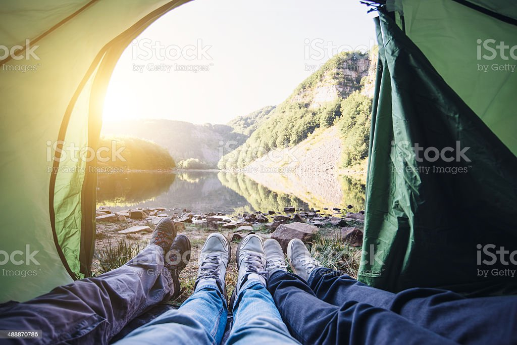 In A Tent Near The Lake With Friends stock photo