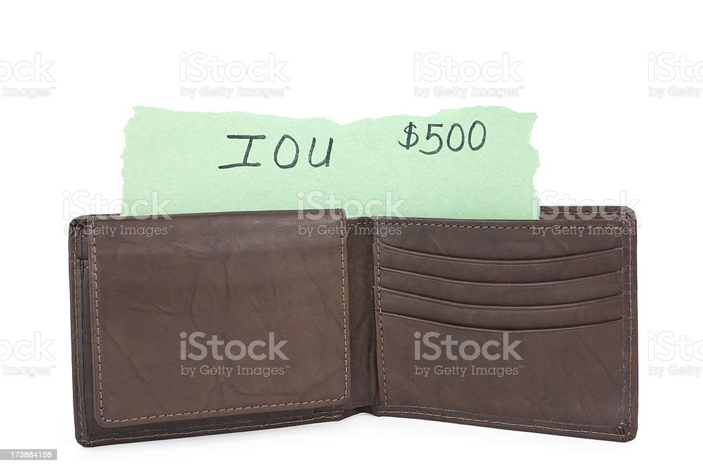 IOU in a Wallet isolated stock photo