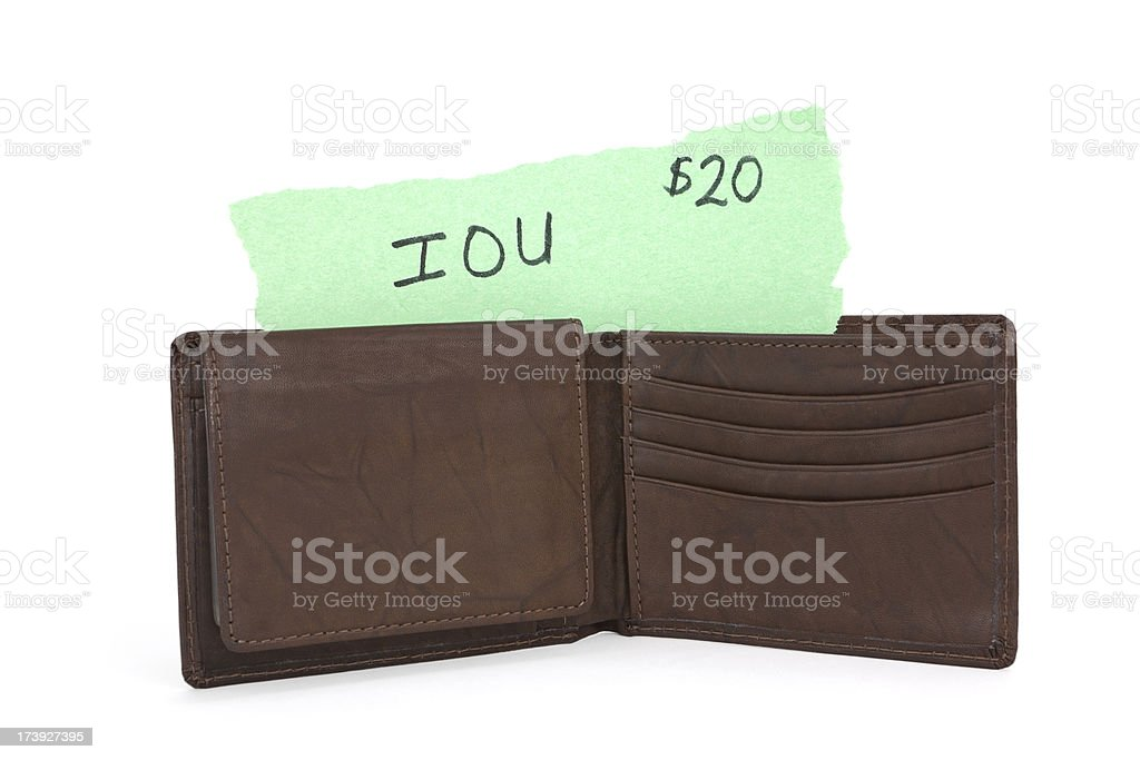 IOU in a Wallet royalty-free stock photo