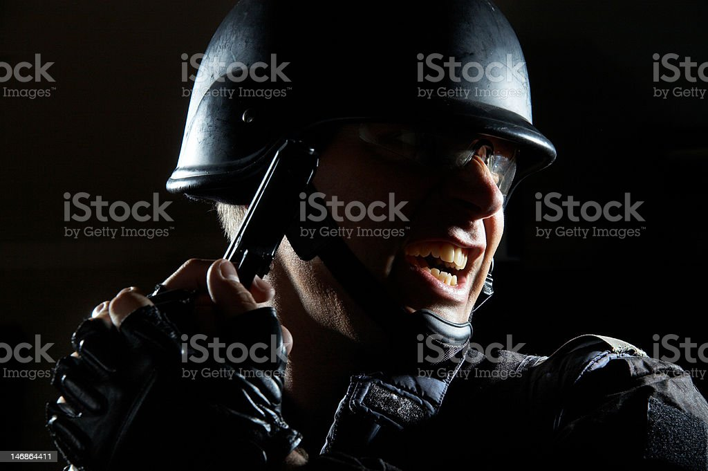 S.W.A.T. in action stock photo