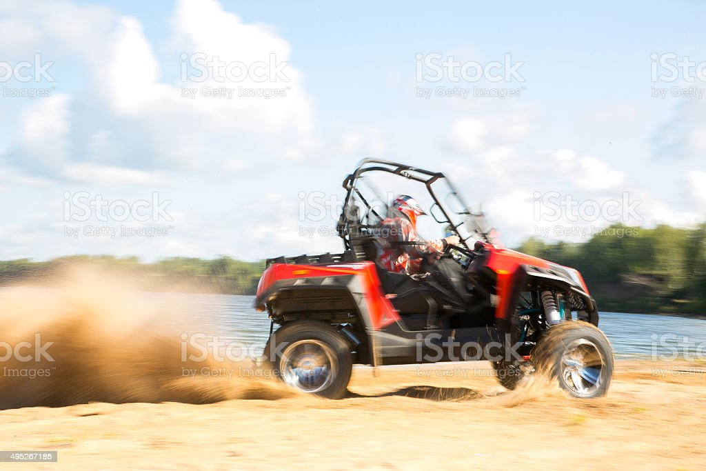 ATV in action stock photo