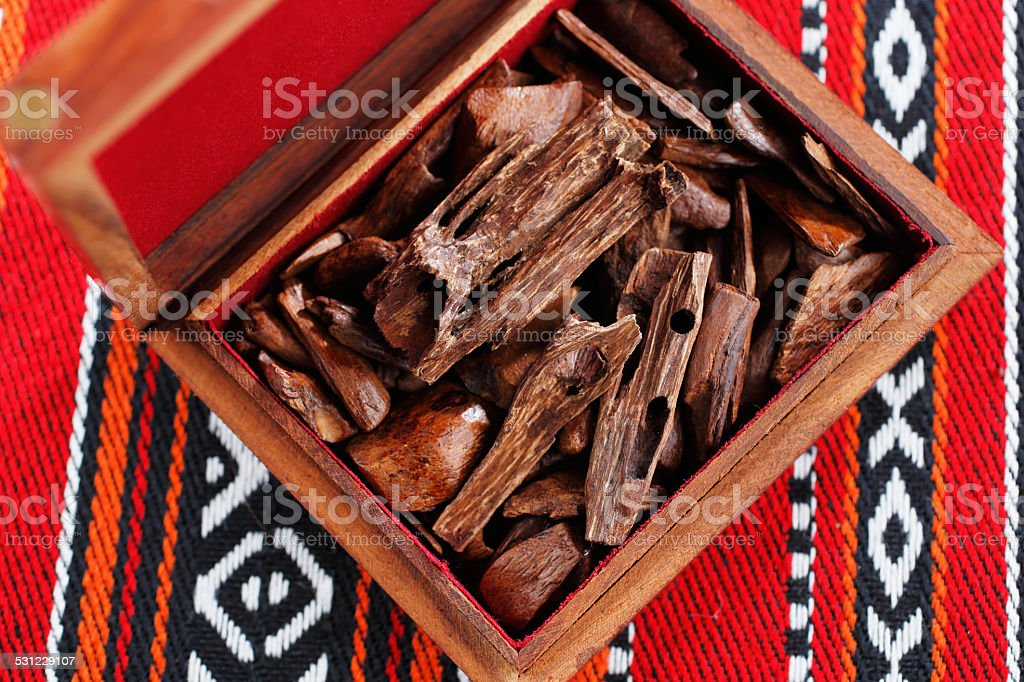 In Arab countries bukhoor is name given to wood chips stock photo