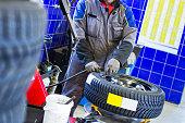 In auto repair shop...Car mechanic is  balancing winter tire
