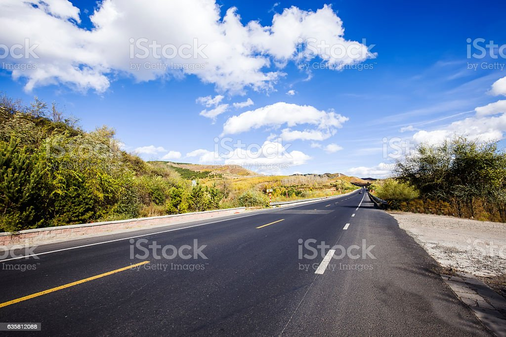 In autumn, highway landscape stock photo
