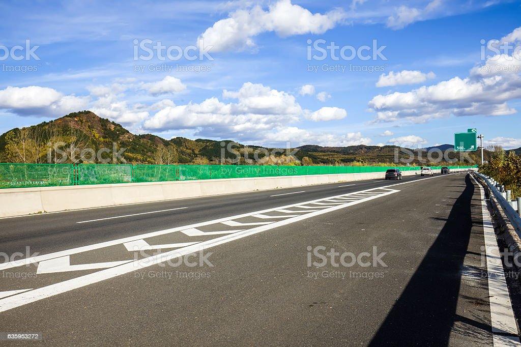 In autumn, highway landscape stock photo