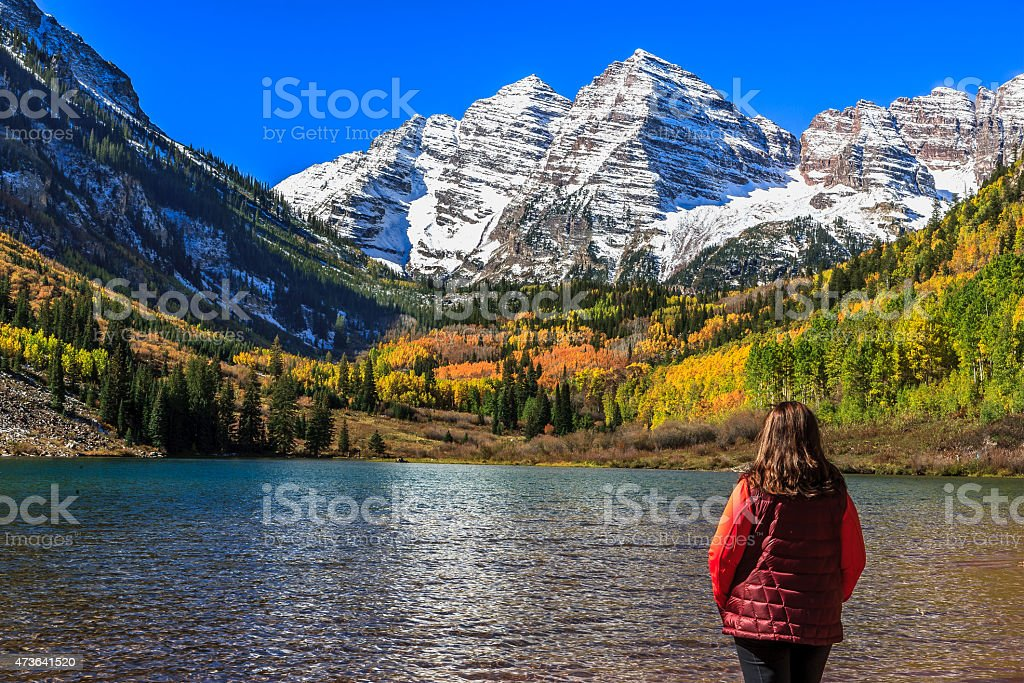 In awe at Maroon Bells stock photo