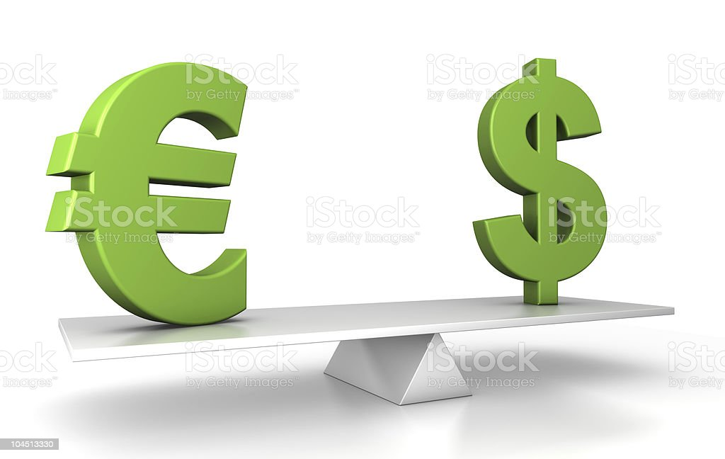 in balance - euro and dollar royalty-free stock photo