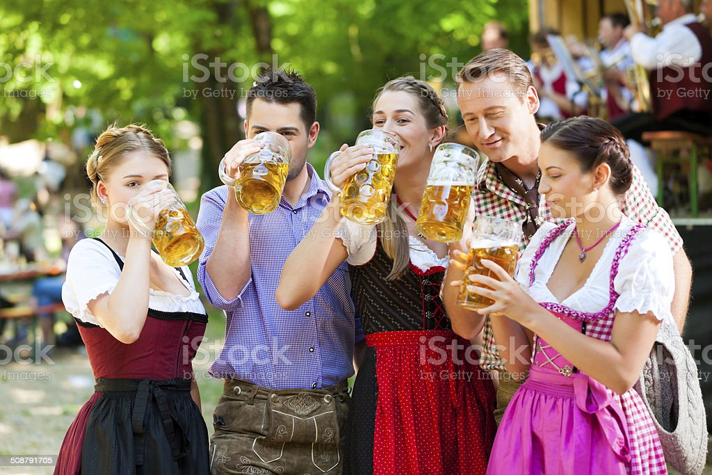 In Beer garden stock photo