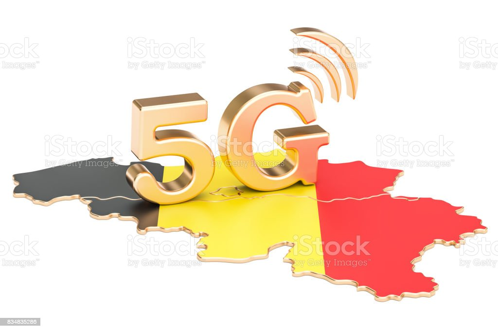 5G in Belgium concept, 3D rendering isolated on white background stock photo