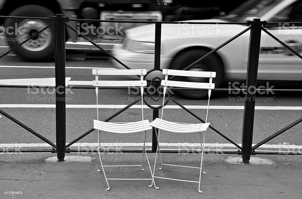 NYC in Black & White - Empty chairs at Herald Square royalty-free stock photo