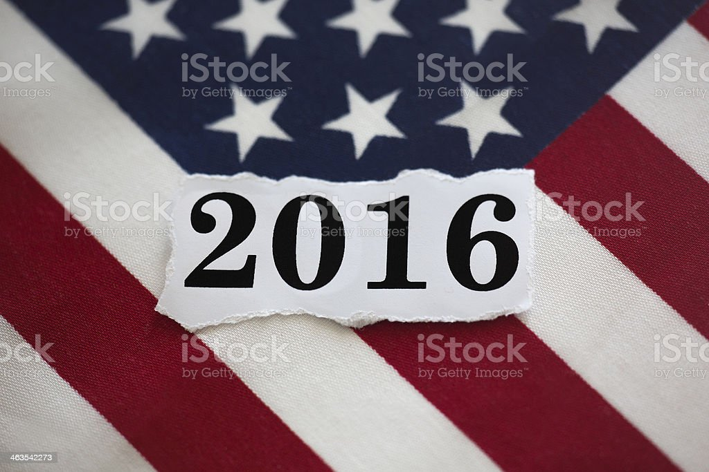 2016 in black with American flag in background stock photo