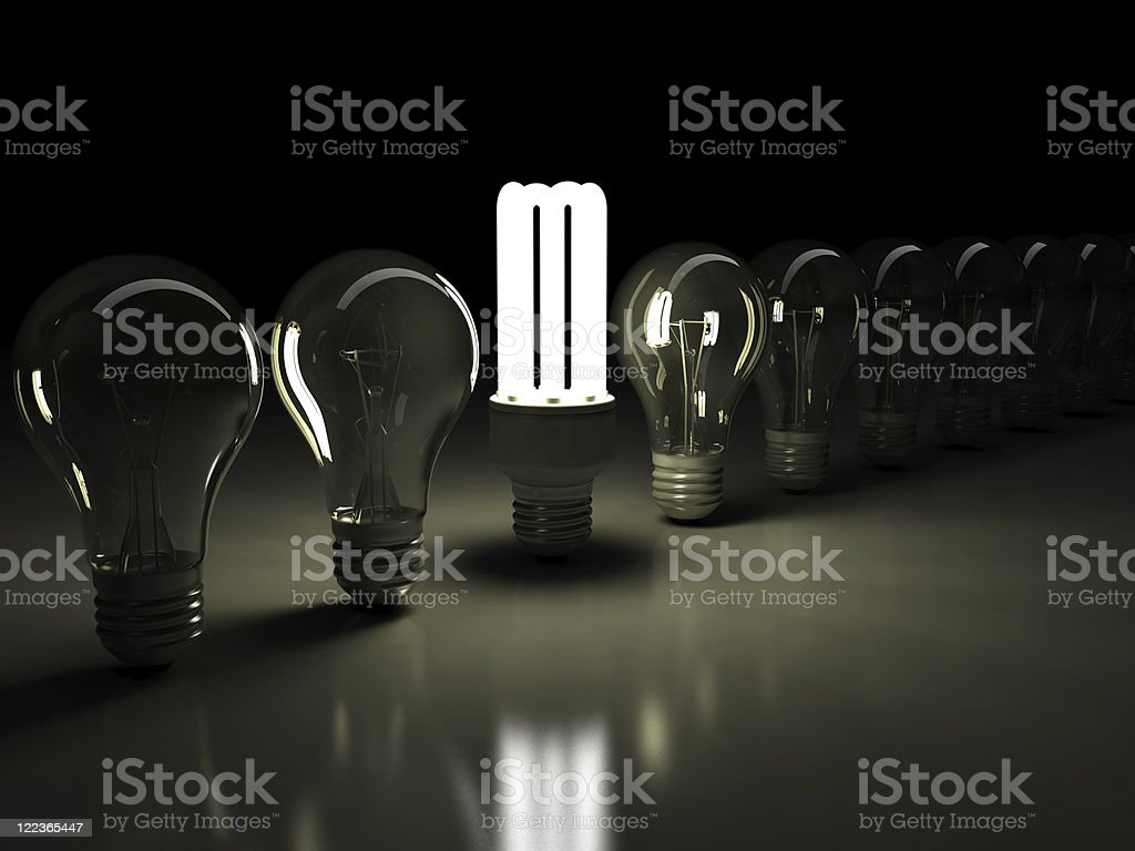 CFL in bulbs row royalty-free stock photo