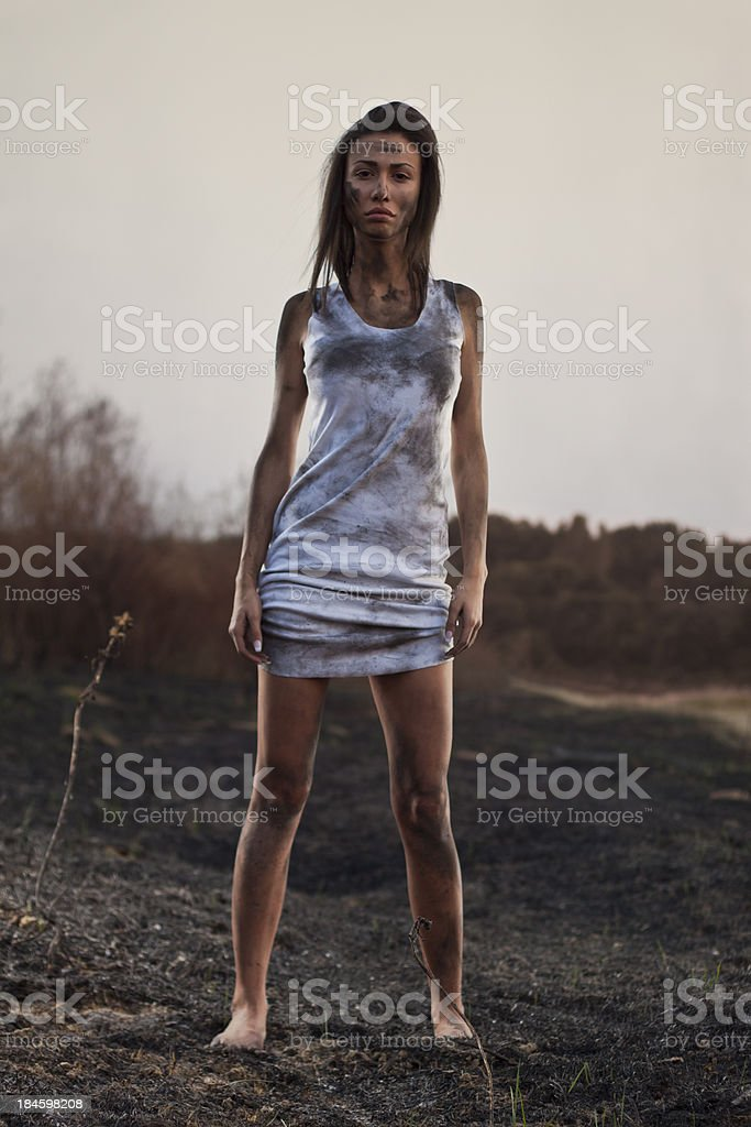 In burned field royalty-free stock photo
