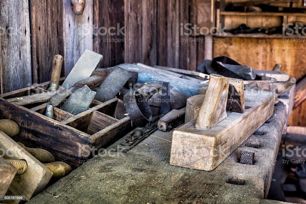 In Carpenter's workshop stock photo