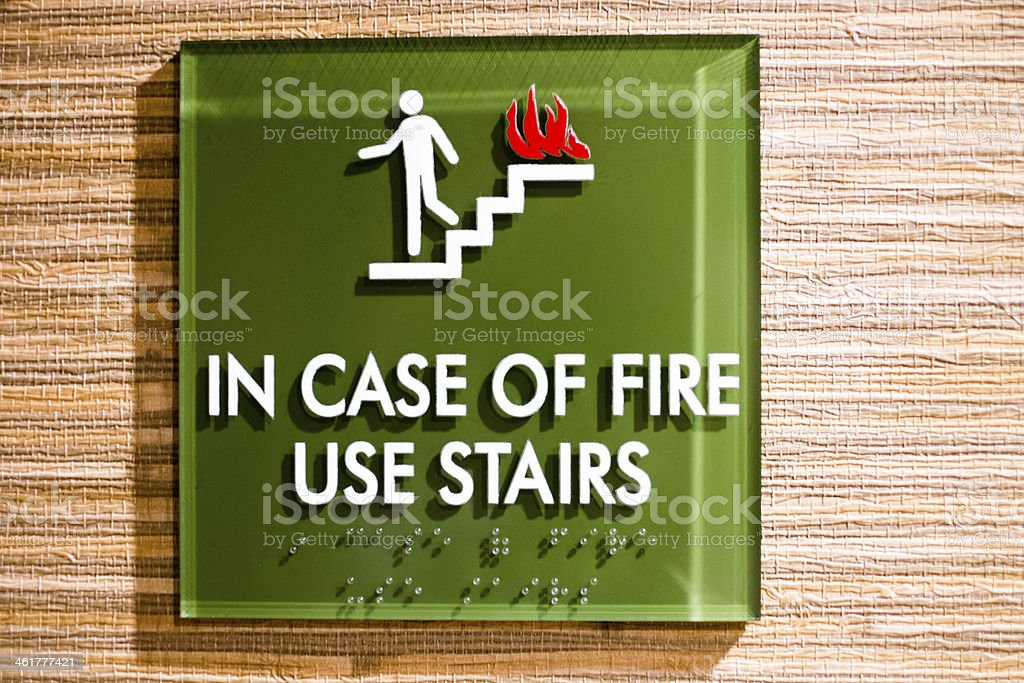 In Case of Fire Use Stairs stock photo