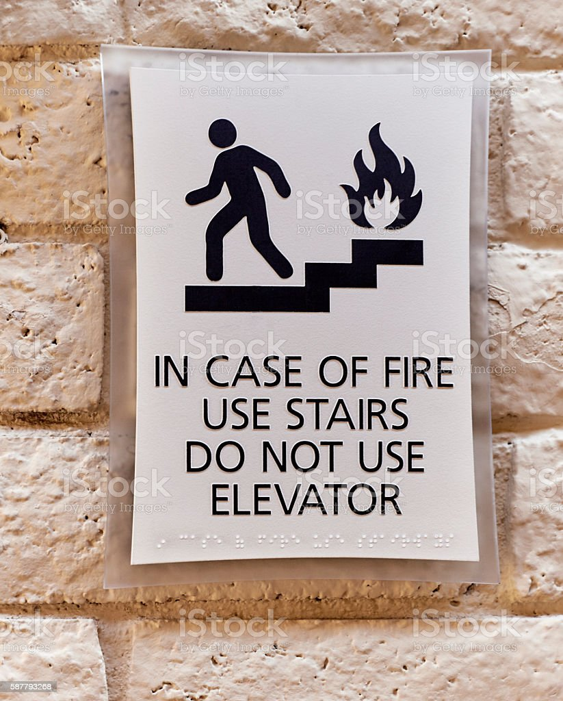 In Case of Fire Warning Sign stock photo