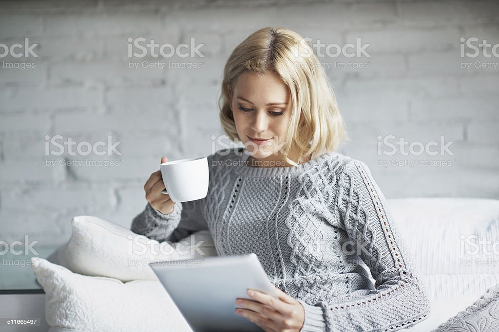 In coffee she trusts stock photo