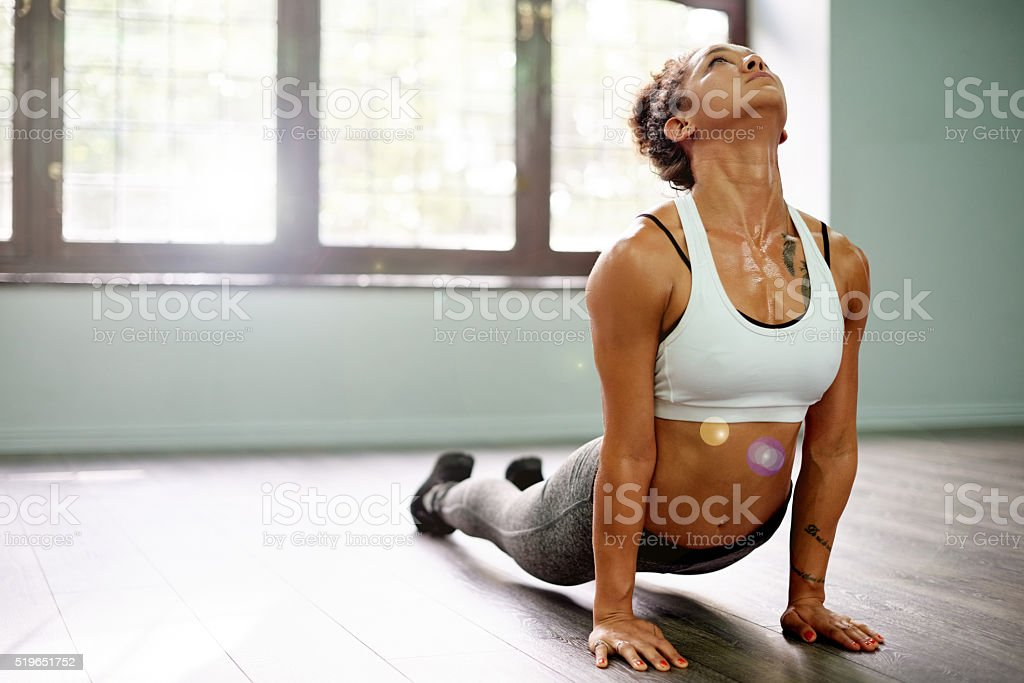 In complete control of her mind and body stock photo