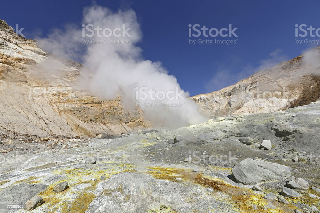 In crater active volcano of Kamchatka Peninsula royalty-free stock photo