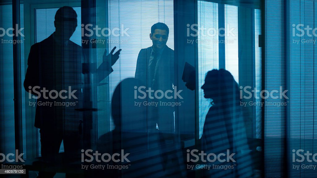 In dark office stock photo
