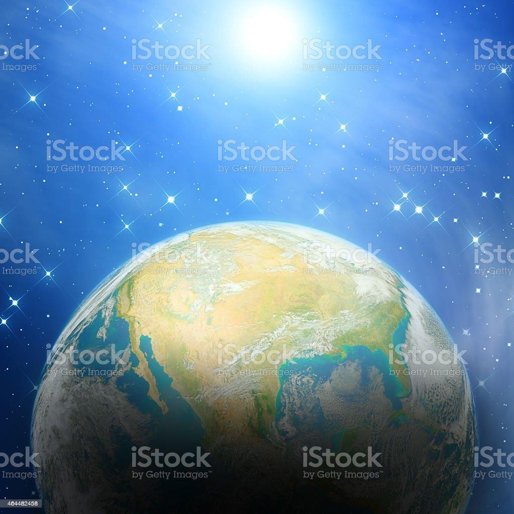 USA in deep universe - sunrise stock photo