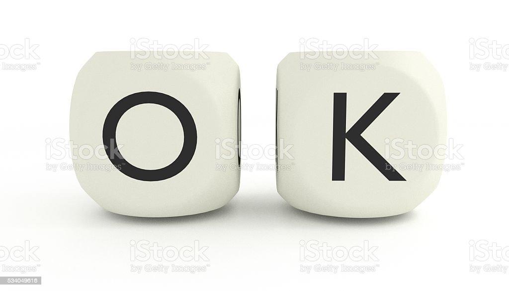 3D OK in Dice stock photo