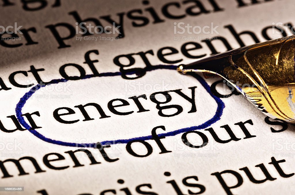 In document, the word 'energy' is circled for emphasis royalty-free stock photo