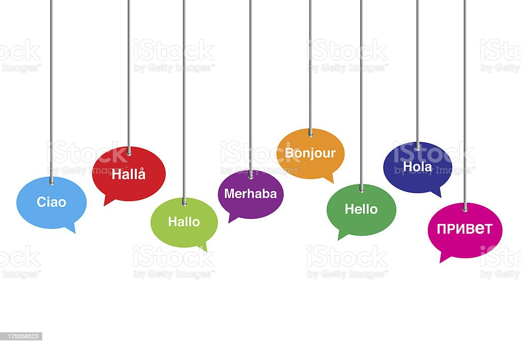 HELLO in eight different languages royalty-free stock photo