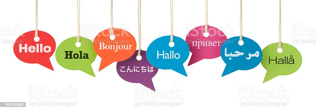 HELLO in eight different languages stock photo