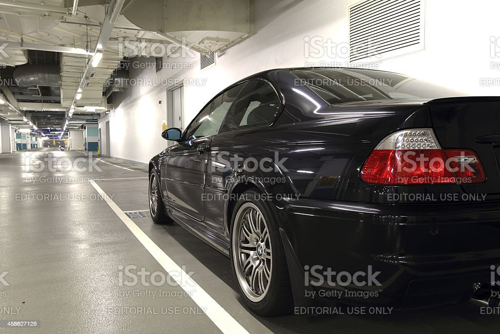 BMW M3 in Empty Parking Lot royalty-free stock photo