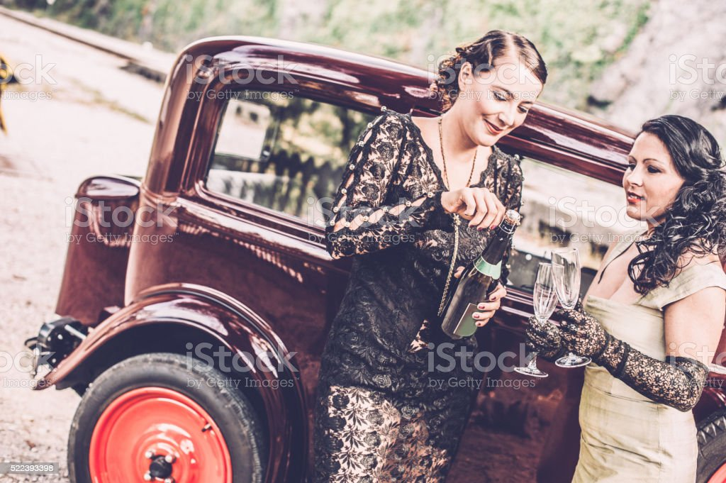 In front a Vintage Car - 1930 Style stock photo