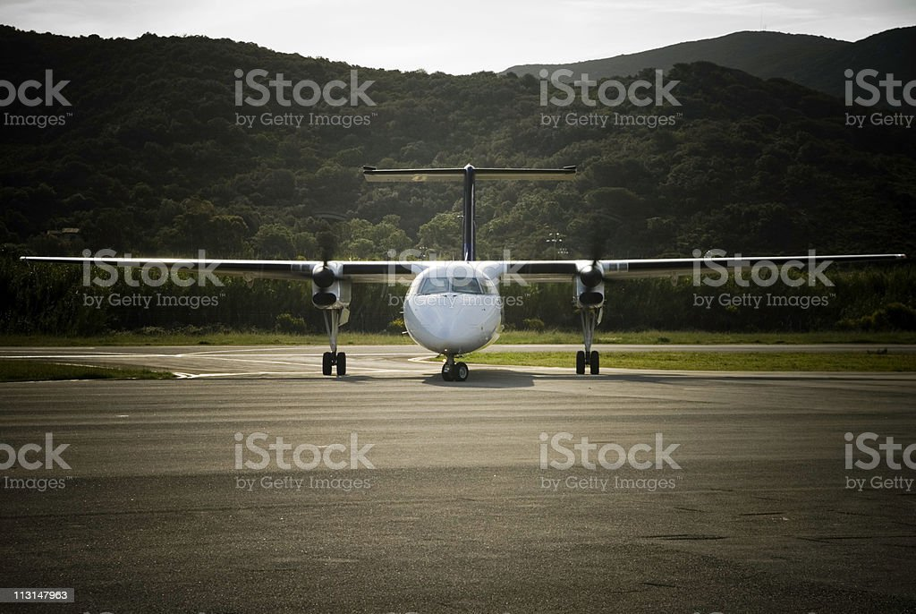 In front of an Airplane royalty-free stock photo