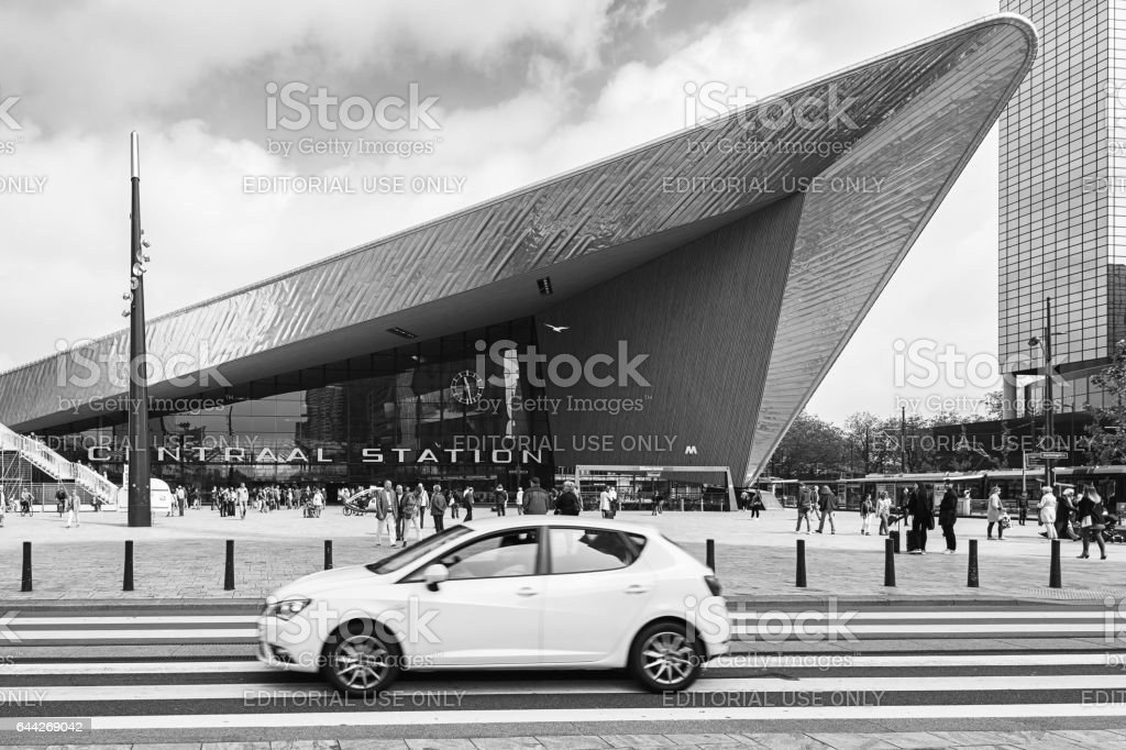 In front of Central Station Rotterdam stock photo