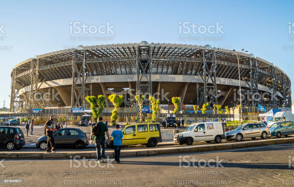 In front of Sao Paolo Stadium, Naples stock photo