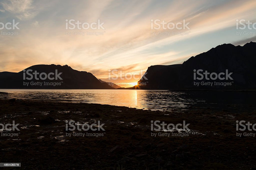 In front of the setting sun royalty-free stock photo