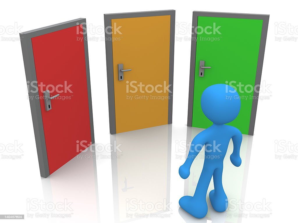 In Front Of Three Doors royalty-free stock vector art
