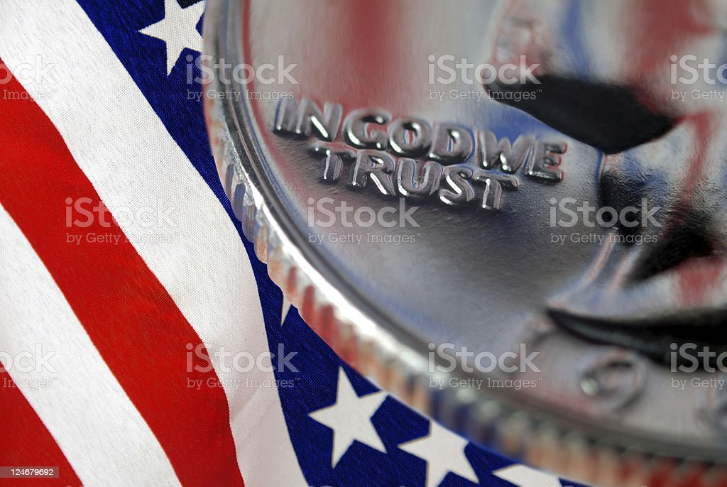 In God We Trust on US Quarter stock photo